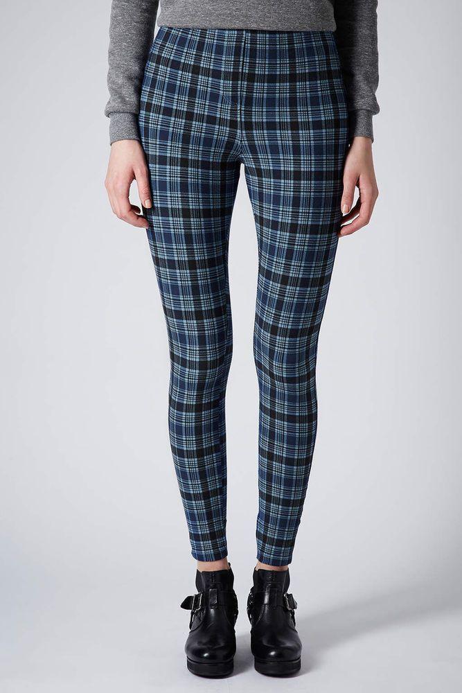 New Womens Tartan Check Printed Skinny Full Length Leggings Ladies Stretchy Pant