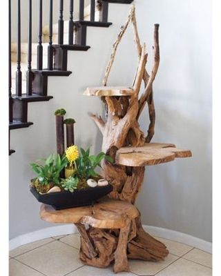 Garden Age Supply 3 Tiered Driftwood Plant Stand With 3 Teak