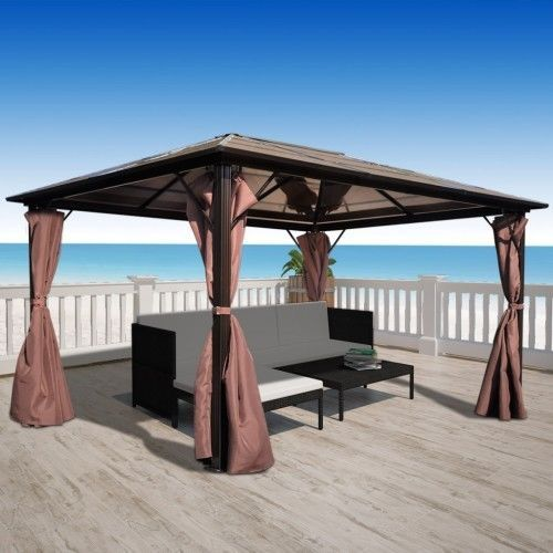 large permanent gazebo 4m x 3m outdoor garden patio heavy duty aluminium new outdoor kitchen. Black Bedroom Furniture Sets. Home Design Ideas