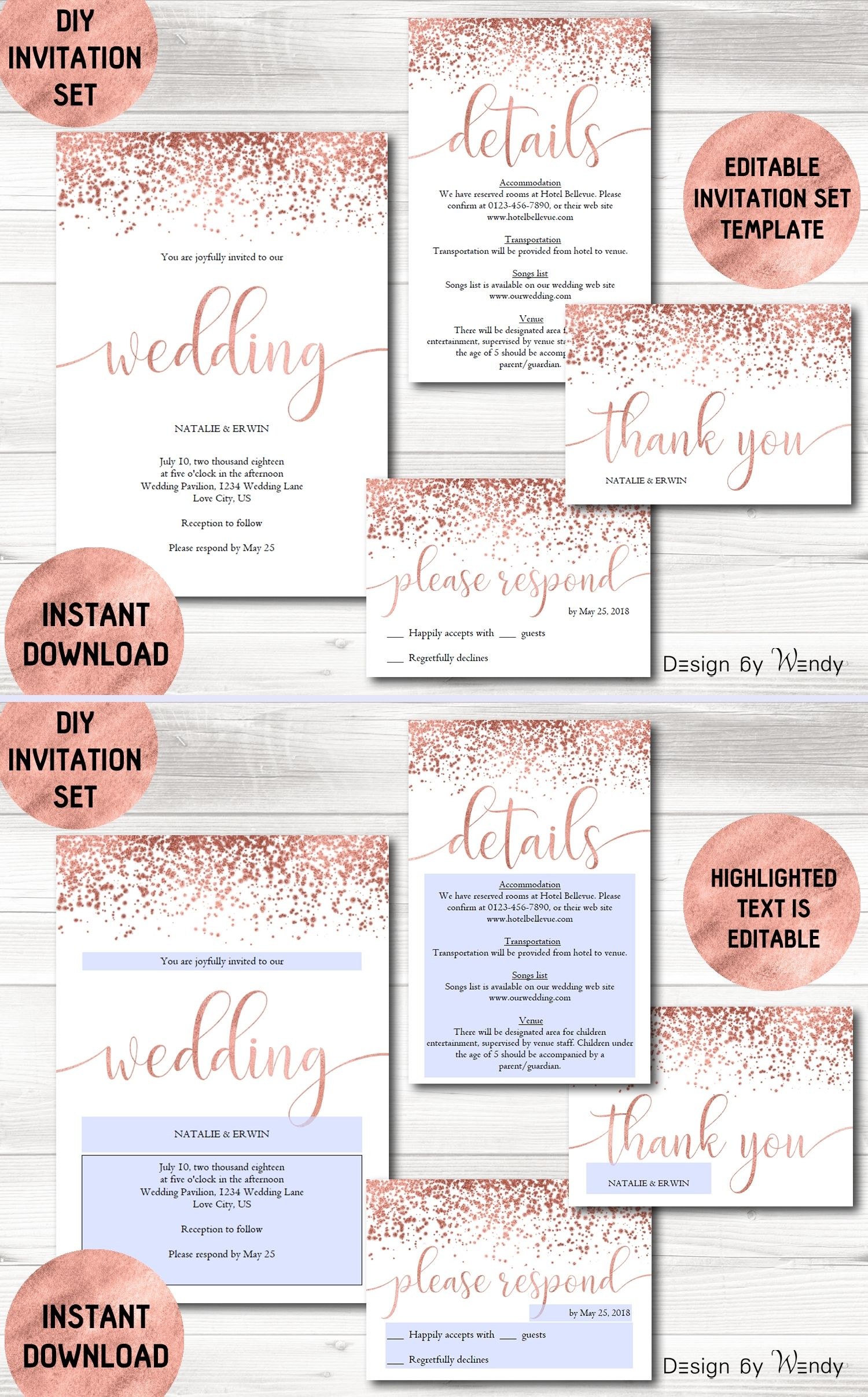 Rose Gold Wedding Invitation Template Calligraphy Wedding