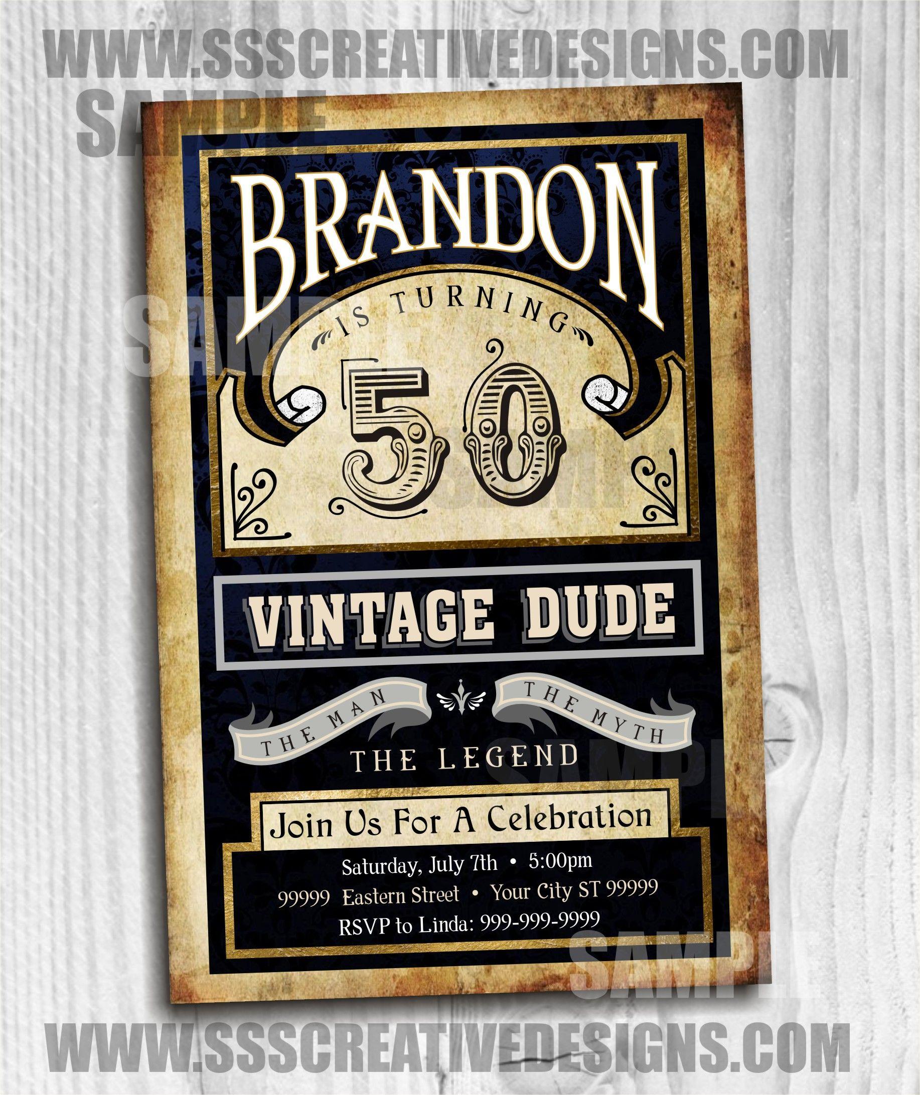 Vintage Dude Retro Old School Digital Printable Birthday Invitation 1142 Vintage Birthday Invitations Retro Invitation Happy Birthday Cards Printable