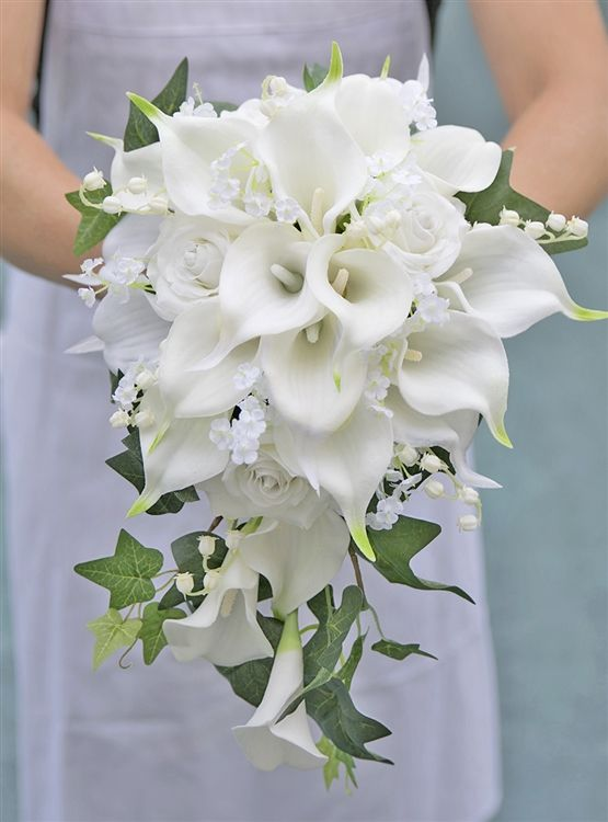 Natural Touch Off White Calla Lilies Roses Silk Cascade Bouquet