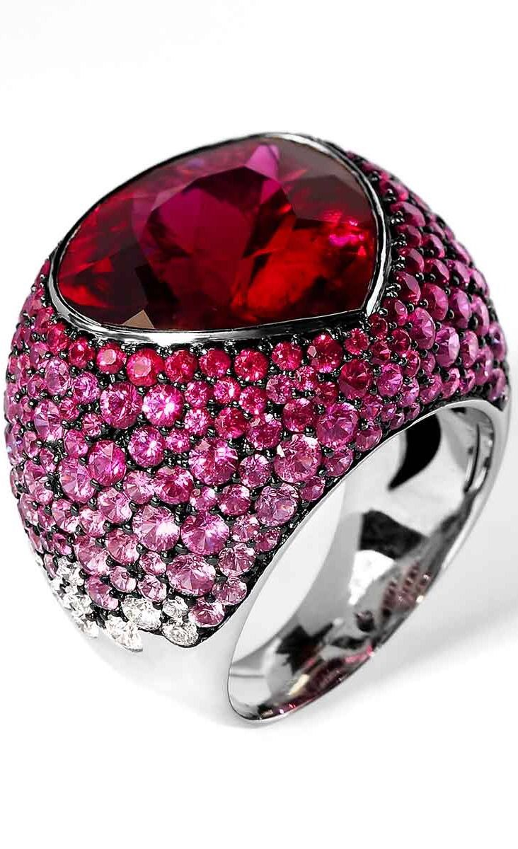 """Ring """"Riviera"""", in gold with rubellite tourmaline, sapphire and diamonds by Mousson Atelier.......ht"""
