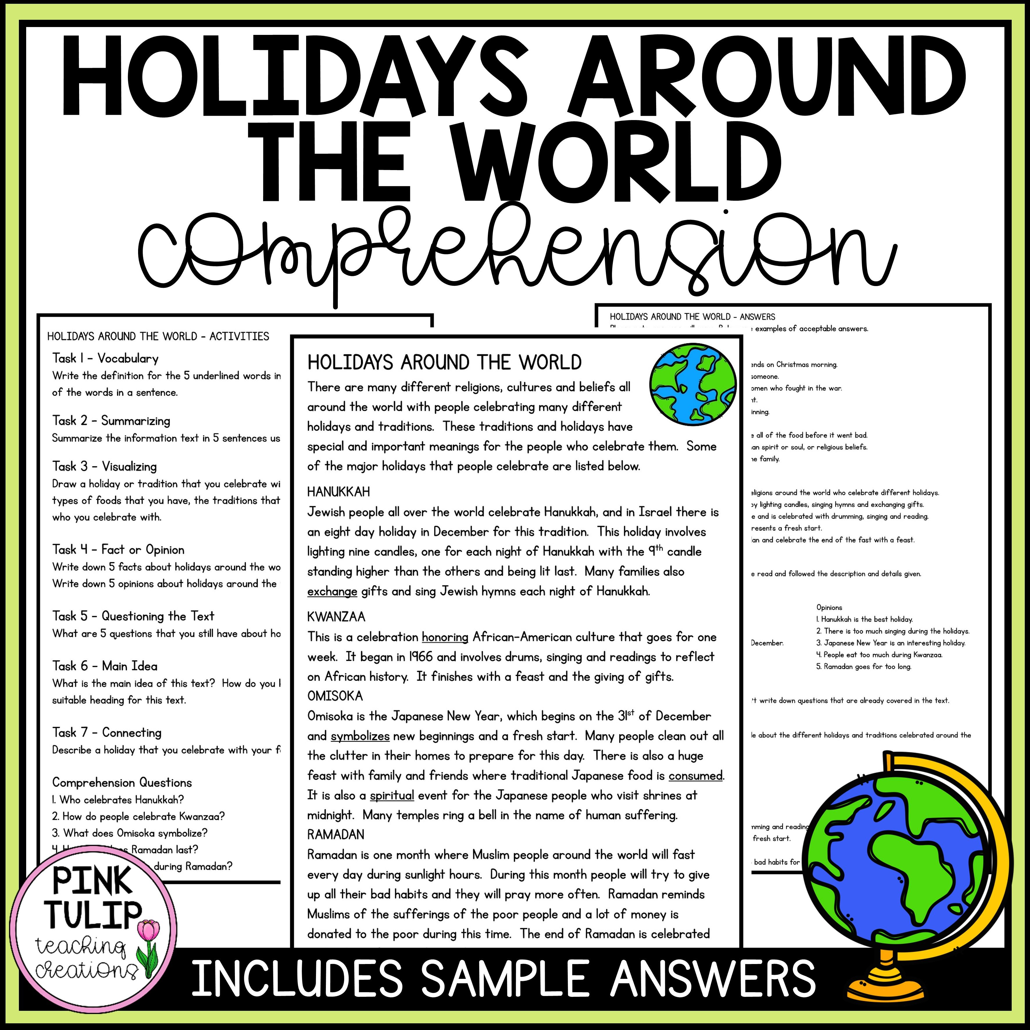 Holidays Around The World Christmas Comprehension Reading Strategy Worksheet Reading Strategies Social Emotional Activities Reading Comprehension Resources [ 3543 x 3543 Pixel ]