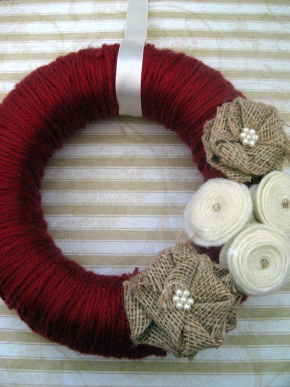 Six (6) inch Dark Red Yarn Wreath with Burlap and Ivory Felt Flowers. $18.00, via Etsy.