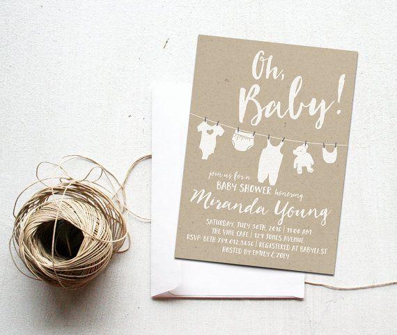 oh baby-dusche einladung bedruckbar, geschlecht neutral, windel, Einladung