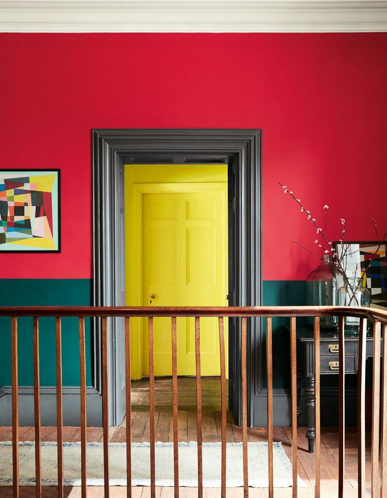 Bold colors: Red and green wall, yellow door | Home | Pinterest ...