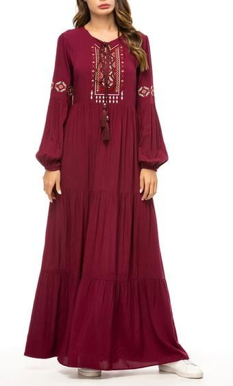 Basic Floral Embroidered Long Abaya Dress-*Size Up* Basic Floral Embroidered Long Abaya Dress-*Size Up* Add to wishlist