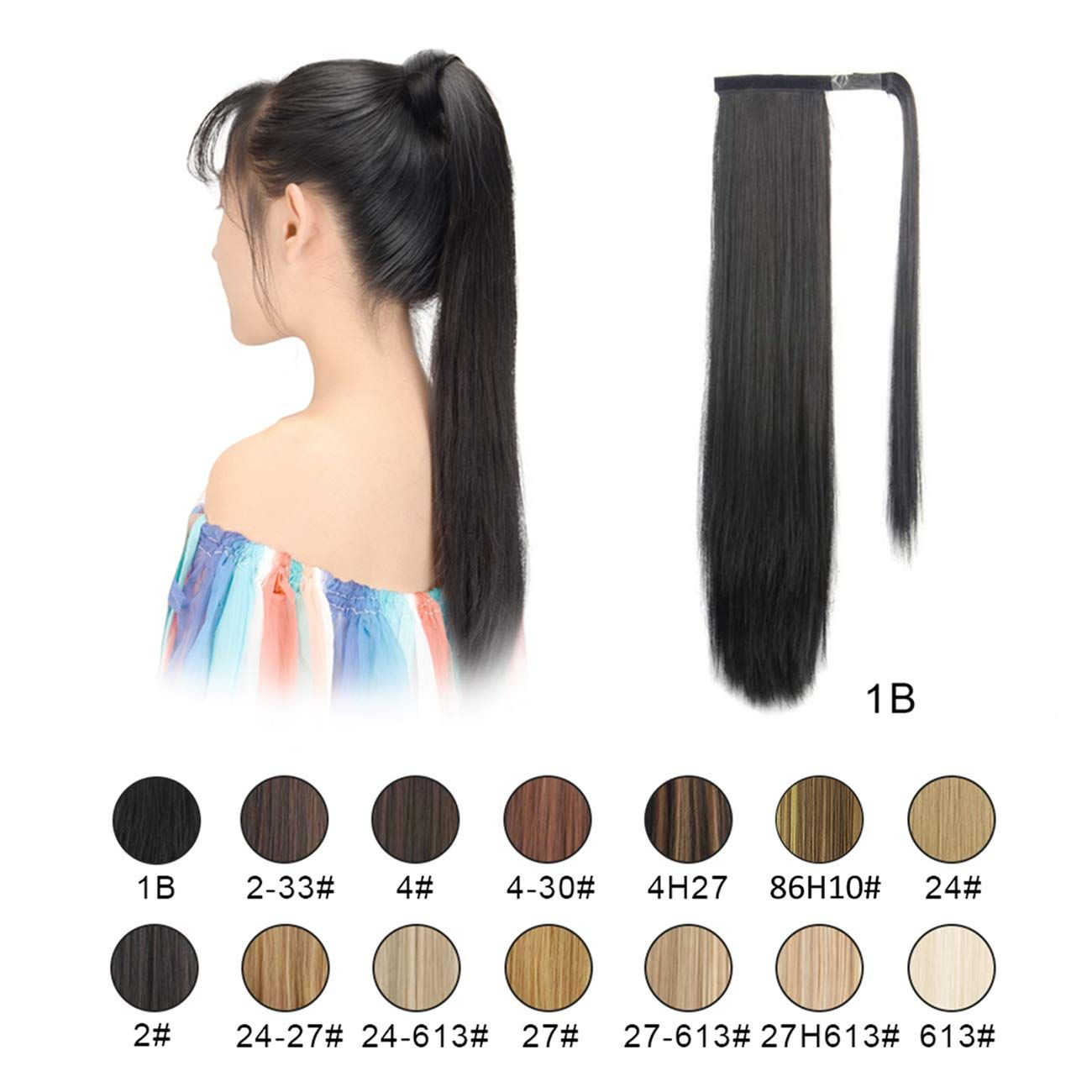 BARSDAR Ponytail Extension Long Straight Wrap Around Clip