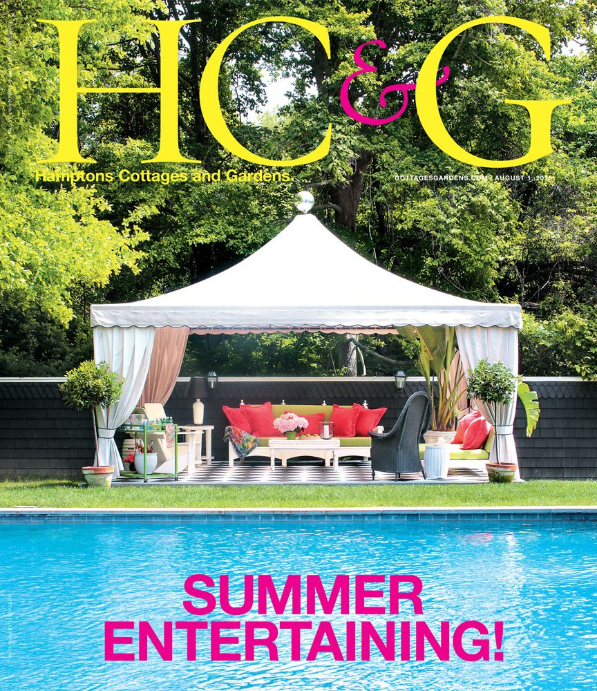 HC&G Aug 1, 2015 cover featuring Decorator Richard Keith Langham's Party-Ready Guest Cottage. #HC&G