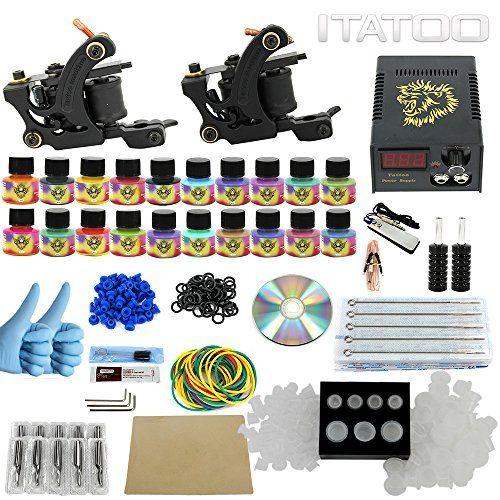 Itatoo Complete Tattoo Kit 2 Pro Machines 20 Color Inks Power