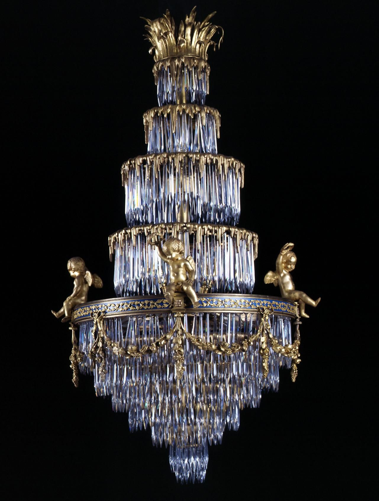 Baccarat a rare crystal and gilt bronze waterfall chandelier baccarat a rare crystal and gilt bronze waterfall chandelier french circa 1900 aloadofball Images