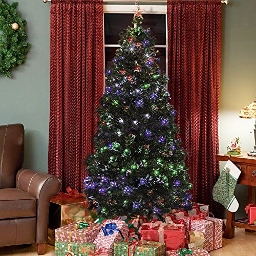 Here S A Lovely Idea To Do If You Have An Old Ladder In The Garage Make A Beautiful Fiber Optic Christmas Tree Traditional Christmas Tree Cool Christmas Trees