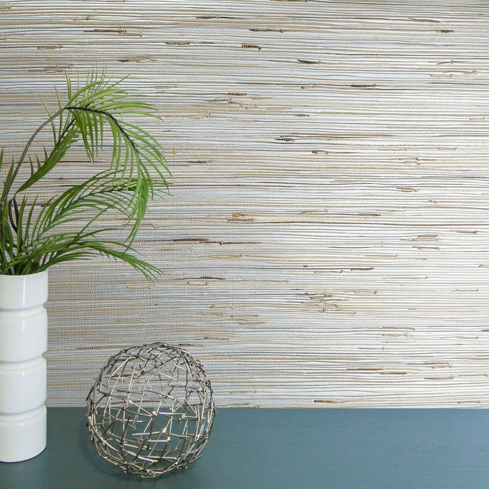 Silver Metallic Wallpaper Real Natural Grasscloth Beige