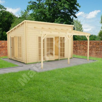 Abri de jardin monopente oxford en bois brut 10m 44mm greenshed salon - Baraque de jardin ...