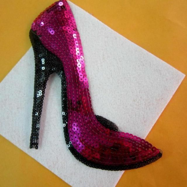 High-heeled Shoes Sequined Iron On Patches For Clothing Applique Embroidery!X