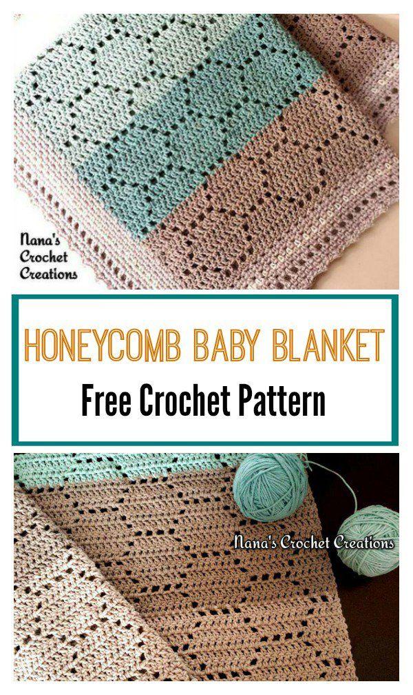 Honeycomb Baby Blanket Free Crochet Pattern #filetcrochet