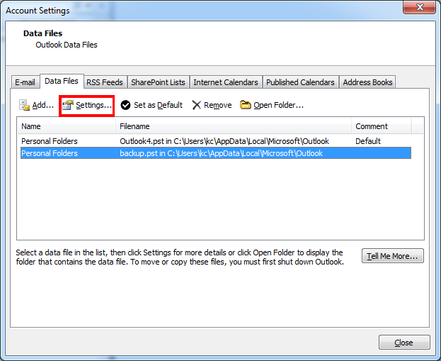 How To Set Or Remove The Pst File Password Of Ms Outlook Outlook Microsoft Outlook Book Add