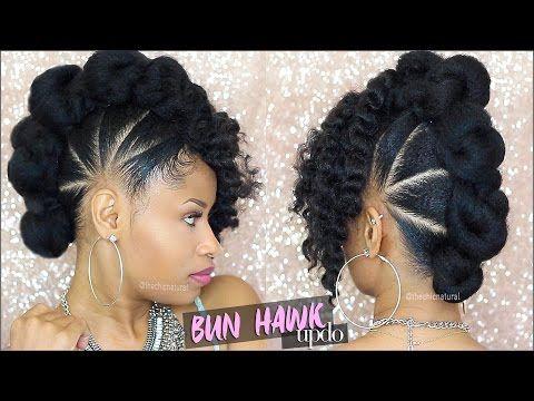 Bun Hawk Updo On Natural Hair - http://community.blackhairinformation.com/video-gallery/natural-hair-videos/bun-hawk-updo-natural-hair/