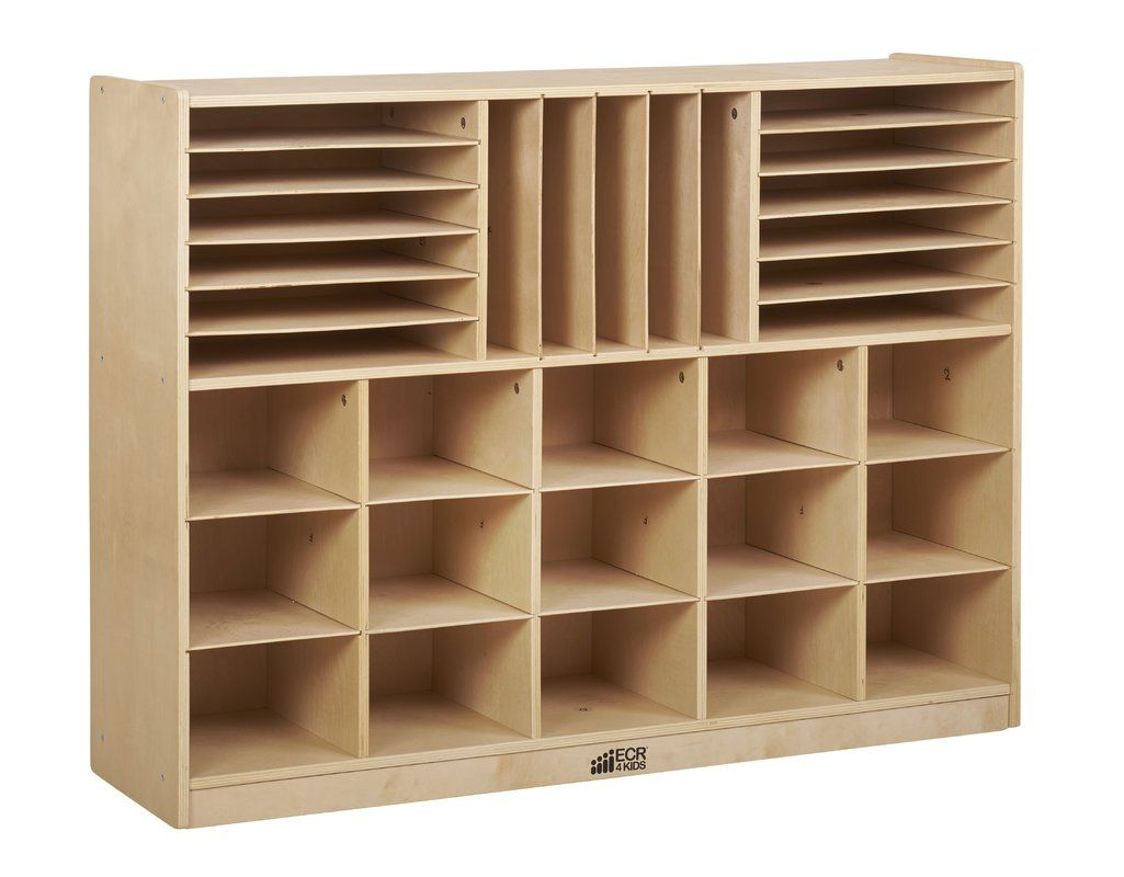 32 Compartment Cubby Classroom Storage Wood Design Storage Cabinet