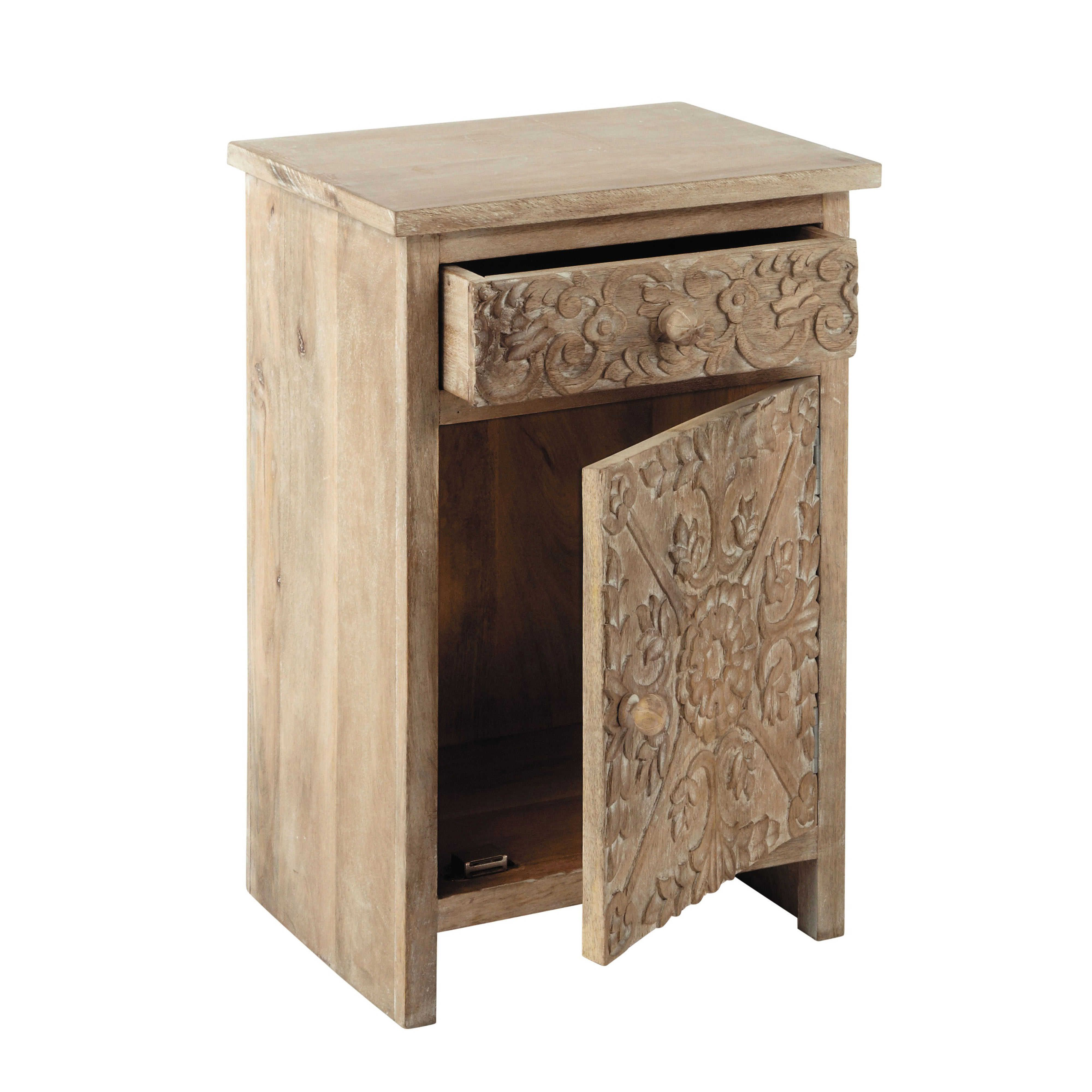 Carved Solid Mango Wood Bedside Table With Drawer In Whitewash Maisons Du Monde Table De Chevet Table De Chevet Blanche Deco Maison Du Monde
