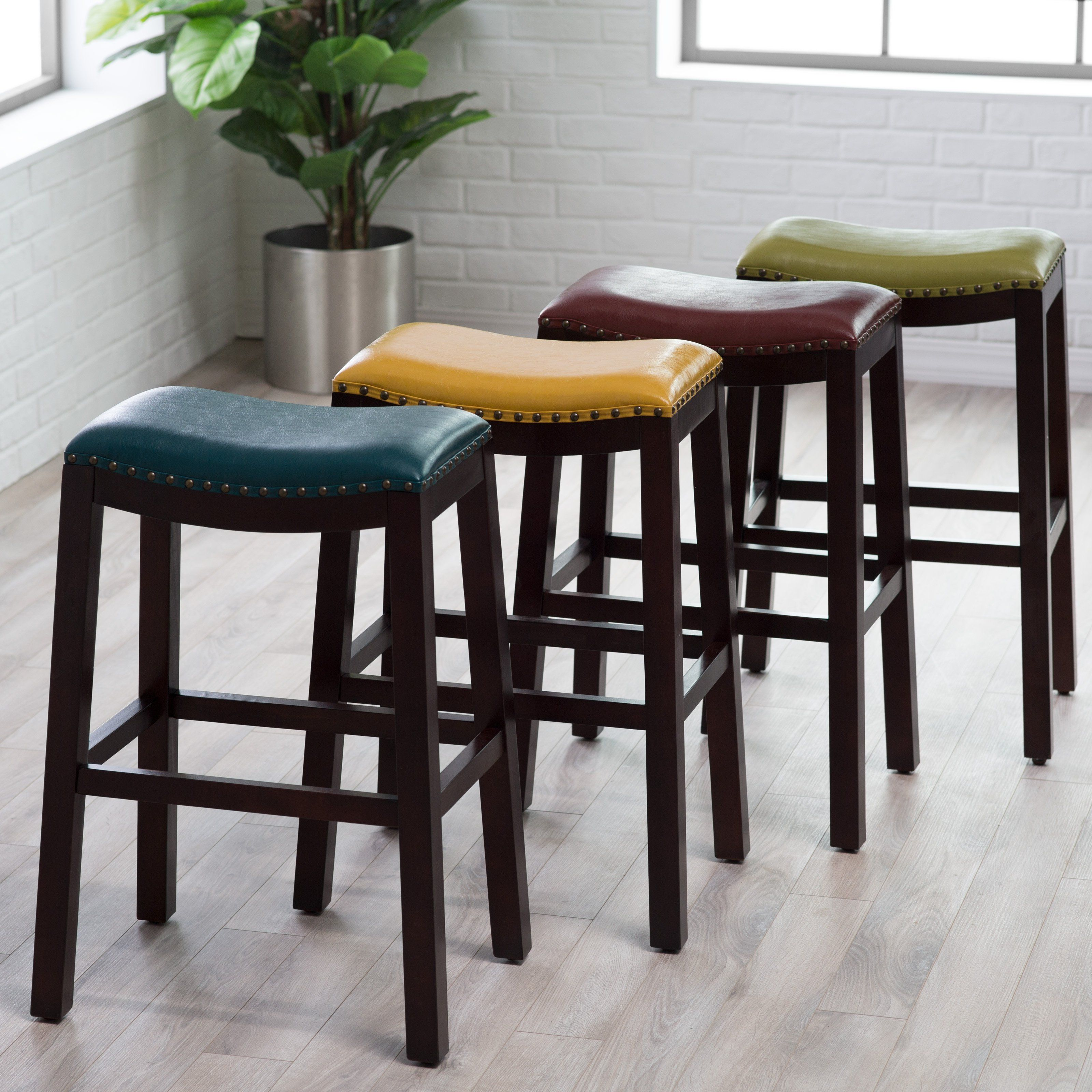 Belham Living Hutton Leather Backless Saddle Bar Stool with ...