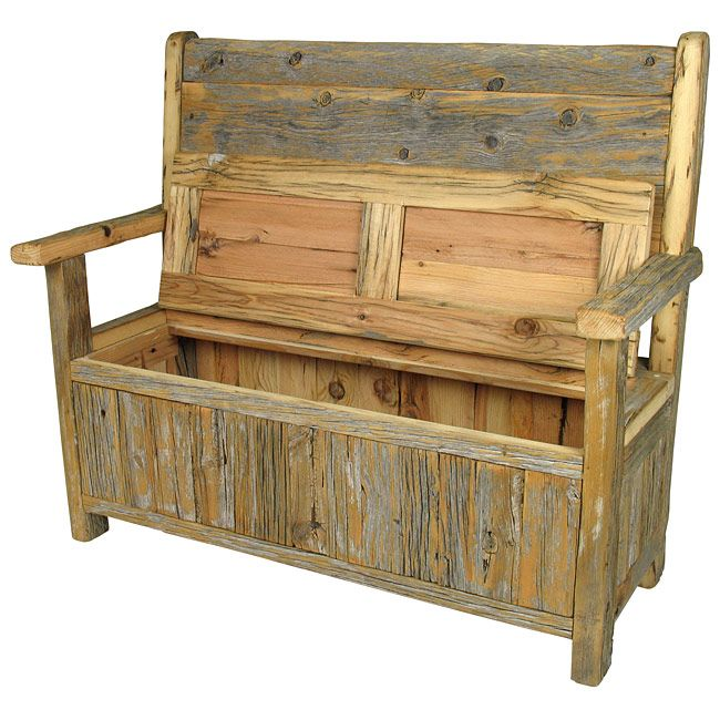 Rustic Old Wood Storage Bench Rustic Storage Bench