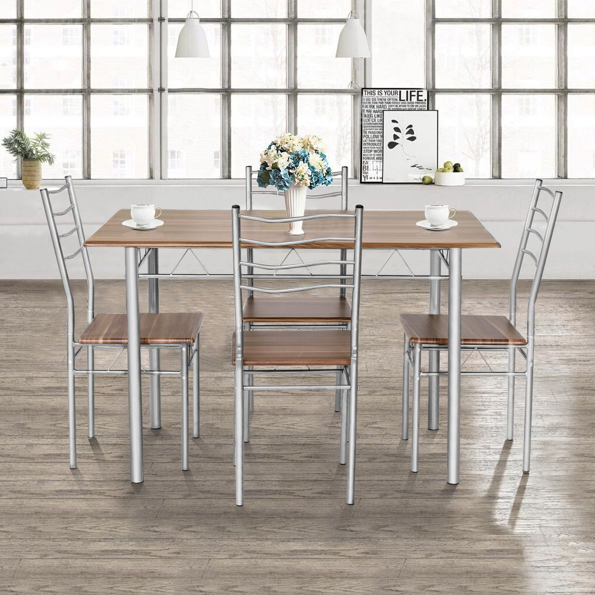 Home In 2020 Metal Dining Chairs Dining Table In Kitchen