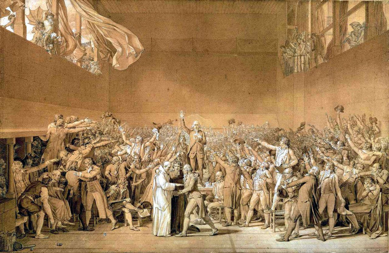 Sketch By Jacques Louis David Of The Tennis Court Oath 1791 Which Marked The Emancipation Of The French Bourgeoisie Or French Revolution Tennis Court Oath