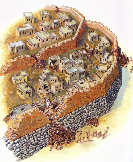 Reconstruction of ancient Jericho, with outer and inner walls, walls in bad repair, and houses/rooms built into the outer wall itself; the collapsed walls made it much easier for Joshua and the Israelites to gain access to the city