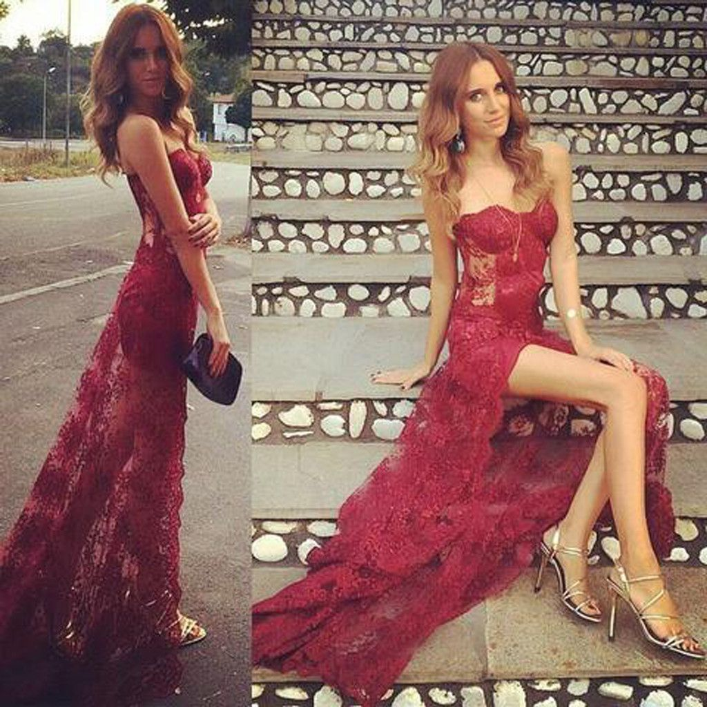 Sweetheart see through sext red lace side slit long prom dresses