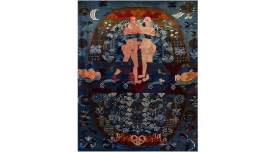 """HANNAH RYGGEN. VERDEN I VEVEN. NASJONALMUSEET. / absolutetapestry.com  Hannah Ryggen. """"Vi lever på en stjerne"""" 1958."""