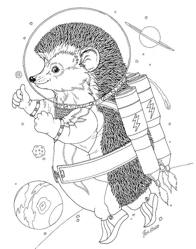 Hedgie Blasts Off! Rocket Hedgie Coloring pages, Adult