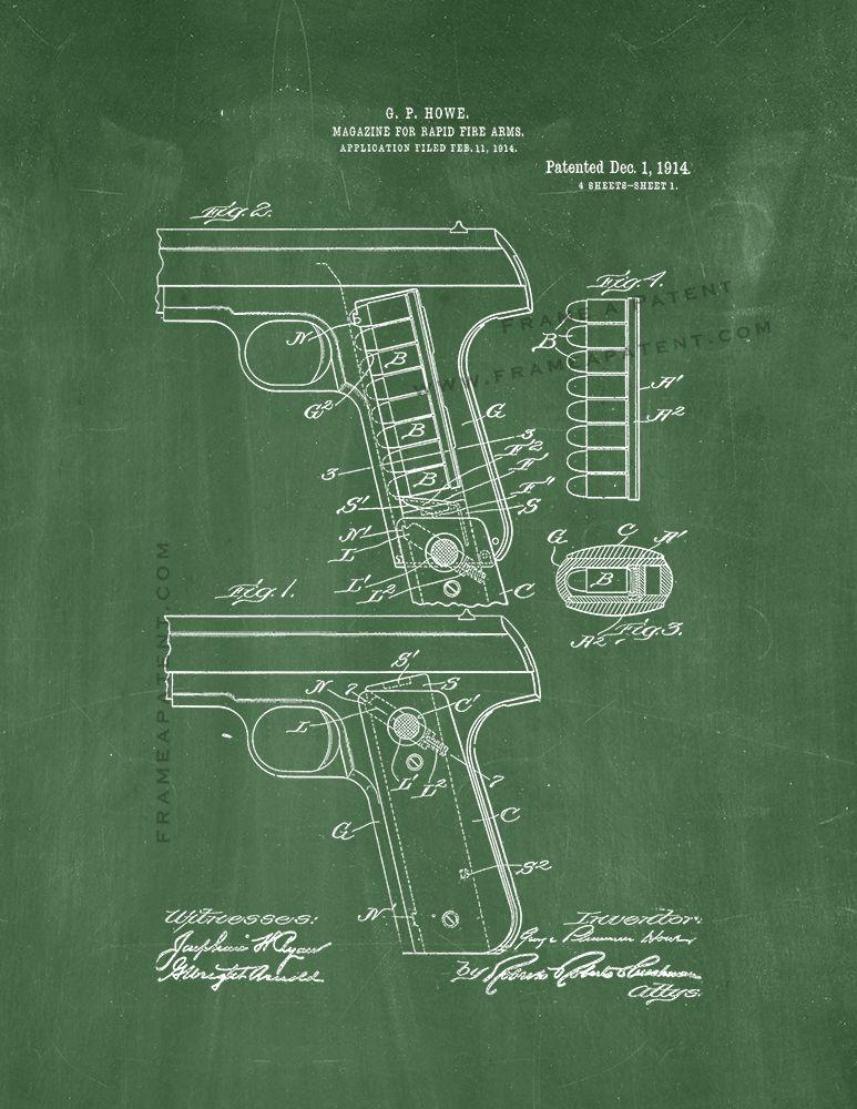 Picture Poster Hand Gun Rifle Art Bullet Firing from a Revolver Framed Print