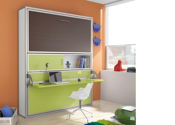 Dormitorio juvenil con cama doble horizontal y modulo - Dormitorio juvenil doble ...