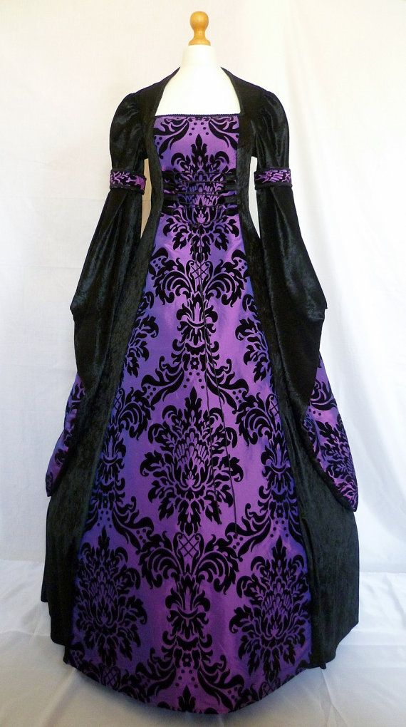 Gothic dress medieval gown pagan costume black velvet and purple ...