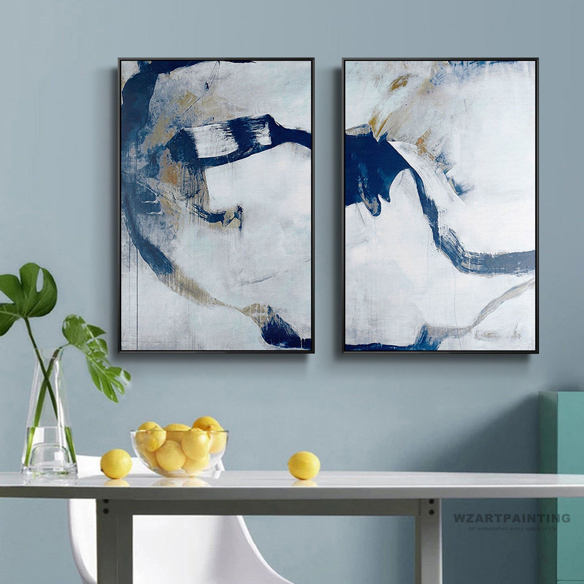 Framed Wall Art Set Of 2 Prints Abstract Navy Blue White Print Painting Wall Art Pictures On Canvas La Wall Art Painting Wall Art Pictures Framed Wall Art Sets