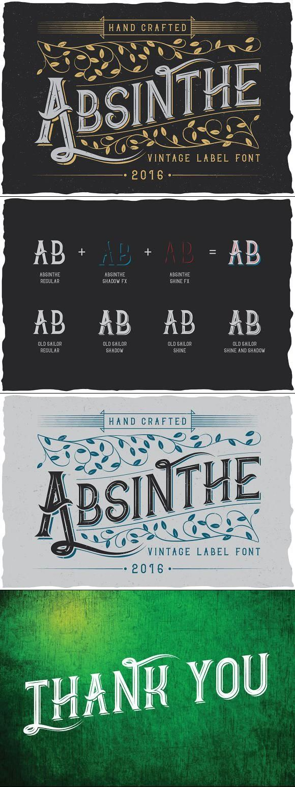 Absinthe label typeface design typography