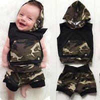 Photo of 2pcs Set Newborn Infant Baby Boy Clothes Hooded Vest Top + S…