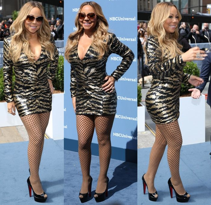 1b21ccbb3c37 Mariah Carey on the blue carpet in a long-sleeved Balmain tulle mini dress  at the 2016 NBCU Upfront Presentation at Radio City Music Hall in New York  City ...