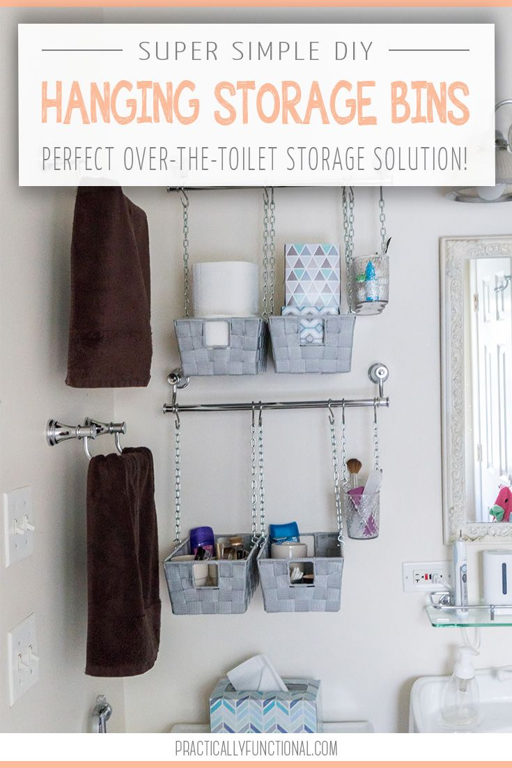 Diy Hanging Storage Bins For Over The Toilet Storage Toilet