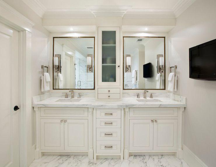 Center Console Cabinet Transitional Bathroom Allwood Construction Master Bathroom Vanity White Master Bathroom Master Bathroom Design