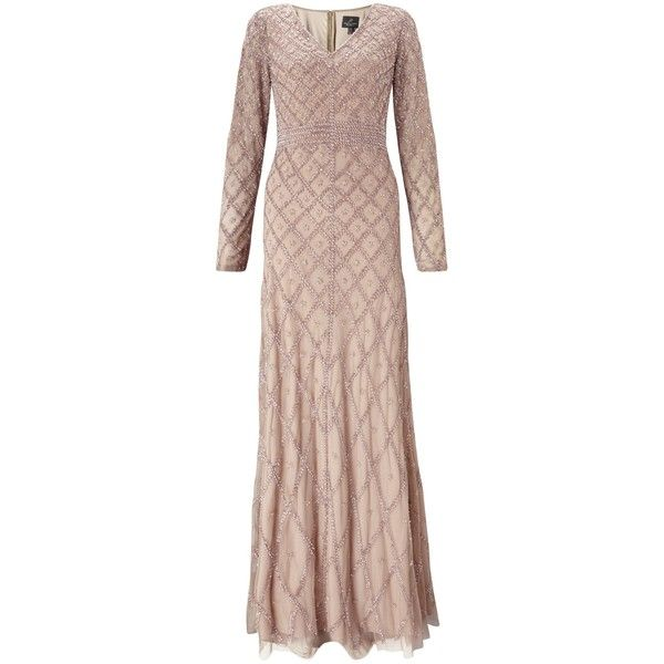 Adrianna Papell Long Sleeve V Neck Beaded Gown Taupe Pink Beaded Gown Taupe Dress Pink Sequin Dress