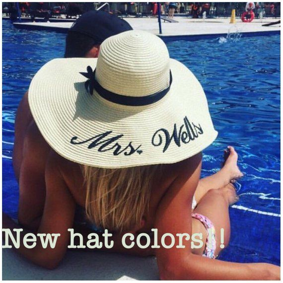 b30e3237 Embroidered Floppy Hat - Wide Brim Beach Sun Hat- Personalized Mrs. Hat
