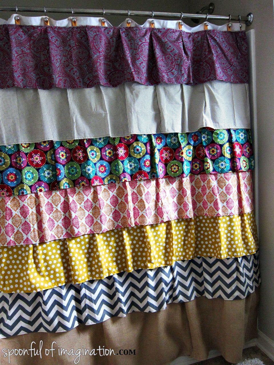 Diy ruffled shower curtain - Homemade Shower Curtain