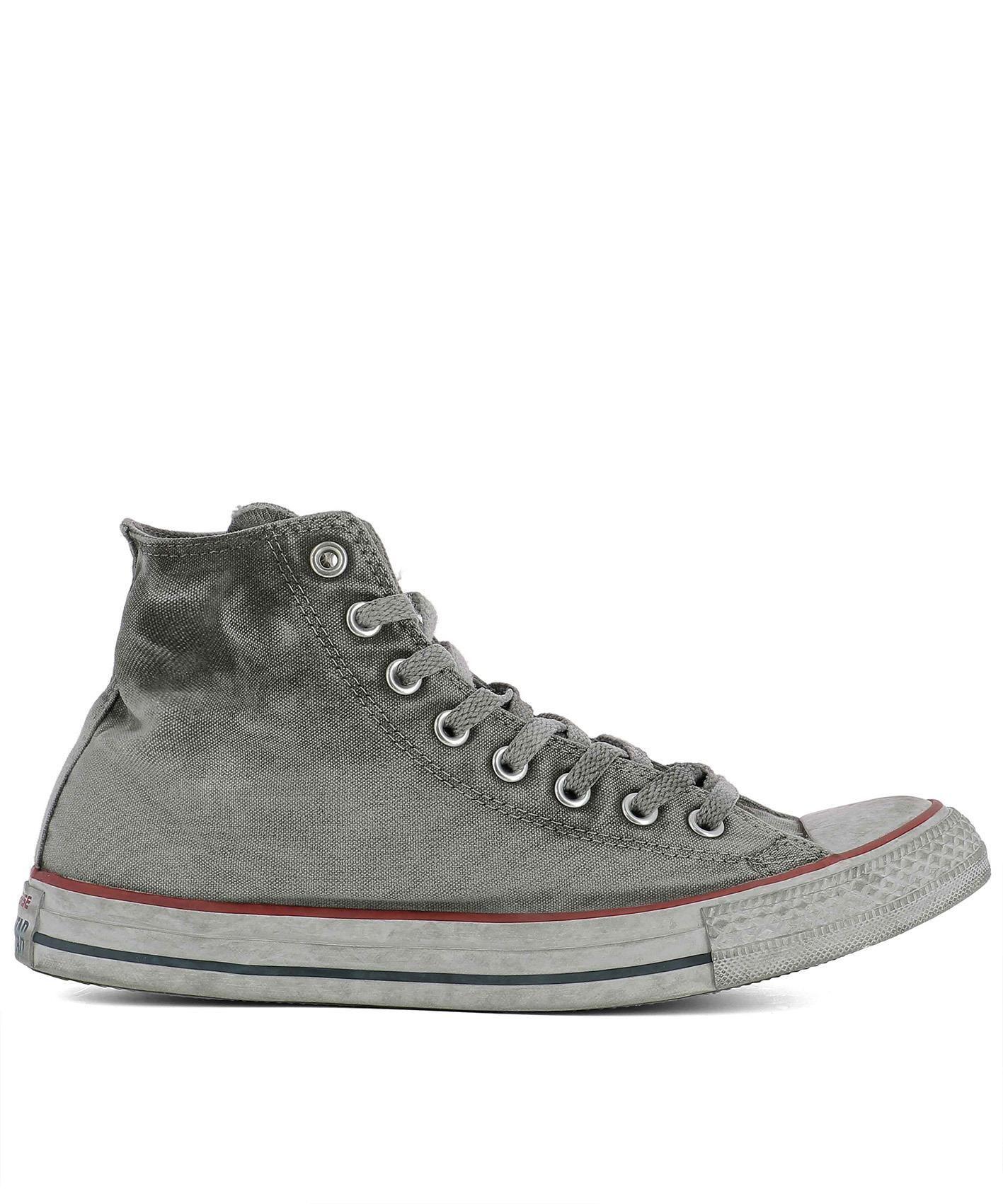 Grey Fabric Hi Top Sneakers