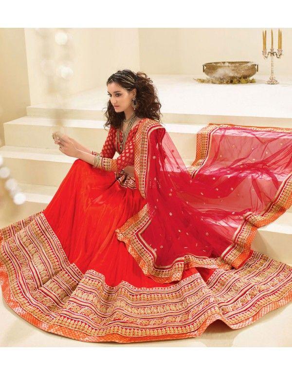3f69e1392a Stunning Tomato Red Bridal #Lehenga #Choli | Lehenga Choli | Bridal ...