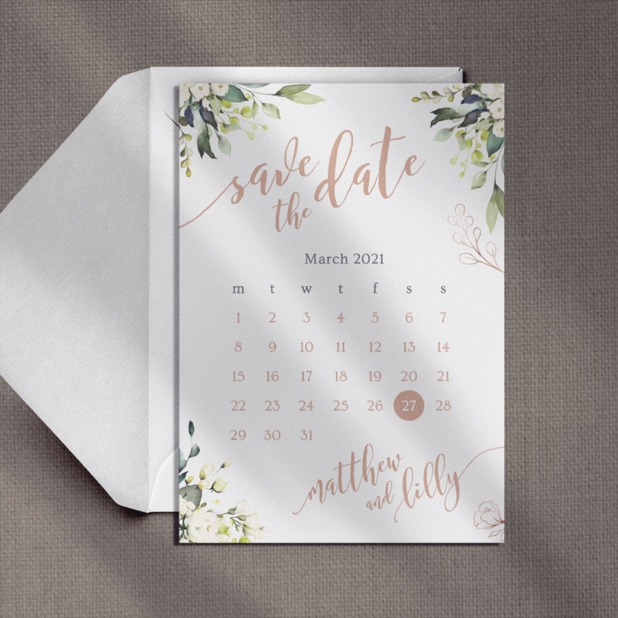 Elegant Calligraphy Watercolour Roses Printed Card Wedding Save the Date Floral Save the Date Eucalyptus Calendar