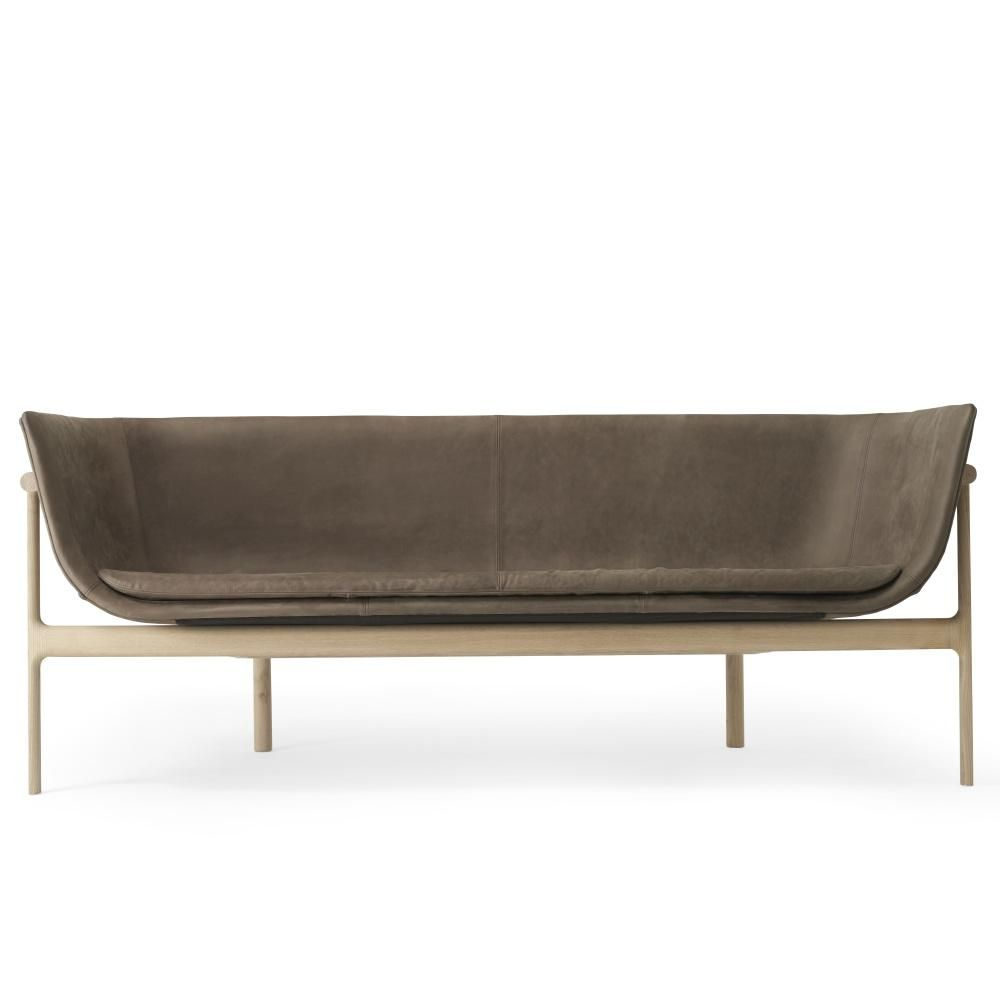 Lounge Sofa Zweisitzer Tailor Lounge Sofa In Natural Oak Dark Brown Leather Design By