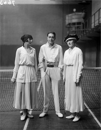On the tennis court, London, 1918